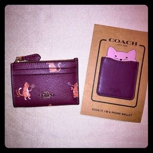 COACH Party Cat Mini Skinny ID Case & Phone Wallet